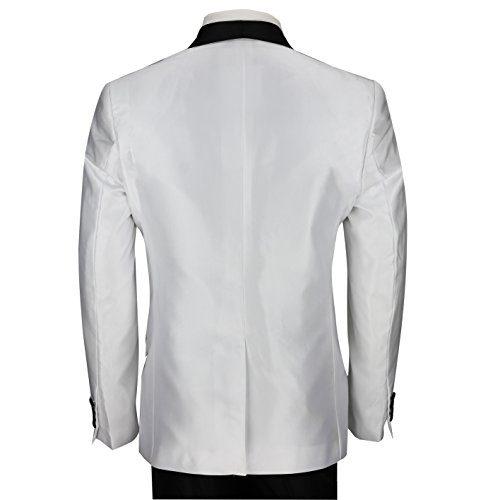 cb8115214247 XPOSED Mens White Dinner Jacket Vintage Black Shawl Lapel Slim Fit Wedding  Party Prom 3 Piece Suit