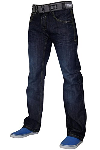Crosshatch Mens Straight Leg Soft Denim Fabric Cotton Jeans With Free Belt
