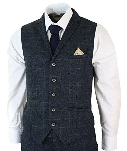 b94e9fb78 Mens Navy Blue Check Herringbone Tweed Vintage Tailored Fit 3 Piece Suit  Smart – Navy