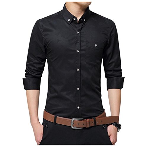 Aiyino mens 100 cotton casual slim fit long sleeve button for Men s 100 percent cotton dress shirts