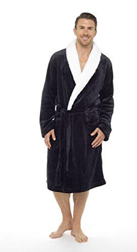 Mens Dressing Gown Luxury Super Soft Mens Fleece Robe With Hood