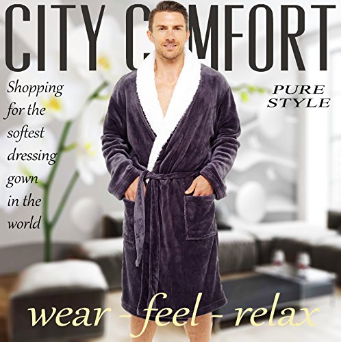 253519a30a Mens Dressing Gown Luxury Super Soft Mens Fleece Robe with Hood Gowns  Bathrobe Warm and Cozy… – Menswear Warehouse