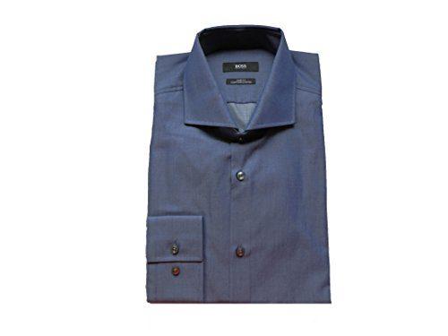 New hugo boss mens dark navy blue egyptian cotton smart for Hugo boss dress shirt review