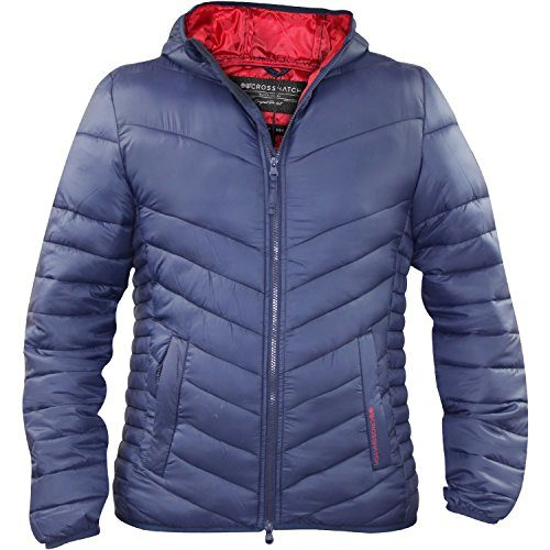 New Mens Crosshatch Quilted Soft Touch Hooded Jacket Light