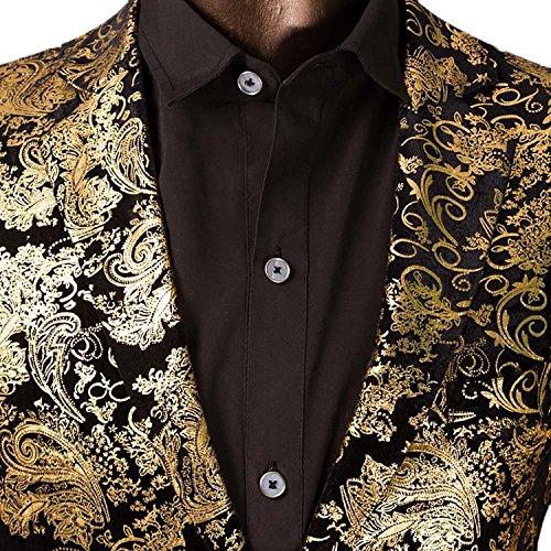 e6adc7147c5 Men's Luxury Casual Velvet Dress Suit Slim Fit Floral Prints Stylish Blazer  Coats Chic Jackets