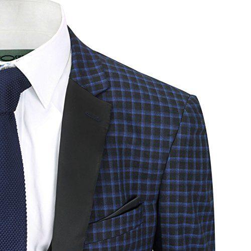5107de4ff Xposed Mens 3 Piece Suit Navy Blue Black Check Smart Vintage Tailored Fit  Jacket Waistcoat Trousers