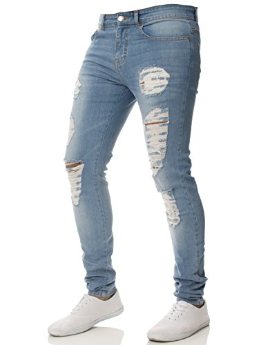 6d6f99282 Enzo New Mens Super Stretch Skinny Jeans Ripped Distressed Designer –  Menswear Warehouse