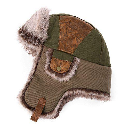 3c42f42666a Siggi Faux Fur Bomber Trapper Hat for Men Cotton Warm Ushanka Russian  Hunting Hat. Sale!