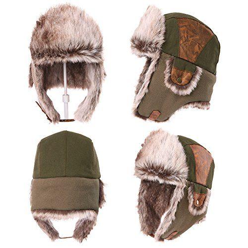 Siggi Faux Fur Bomber Trapper Hat for Men Cotton Warm Ushanka ... 585a0cb6d9c
