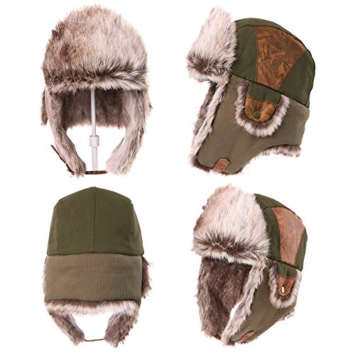 7b16178b1 Siggi Faux Fur Bomber Trapper Hat for Men Cotton Warm Ushanka Russian  Hunting Hat