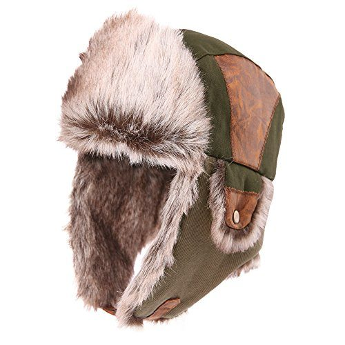 0f68f7676234b Siggi Faux Fur Bomber Trapper Hat for Men Cotton Warm Ushanka Russian  Hunting Hat – Menswear Warehouse