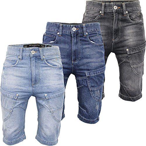 dc4bebfc CS New Mens Crosshatch Denim Jean Shorts Knee Length 3/4 Cargo Combat Pants  Cotton