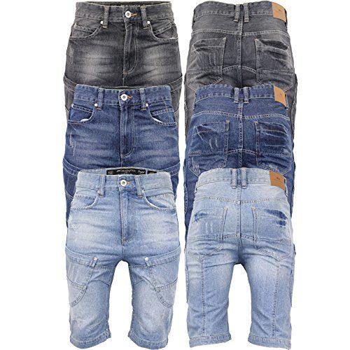 ce120a403cc CS New Mens Crosshatch Denim Jean Shorts Knee Length 3 4 Cargo Combat Pants  Cotton – Menswear Warehouse
