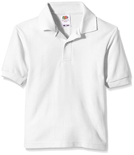 Fruit of the loom childs 65//35 pique polo shirt Black 14 to 15