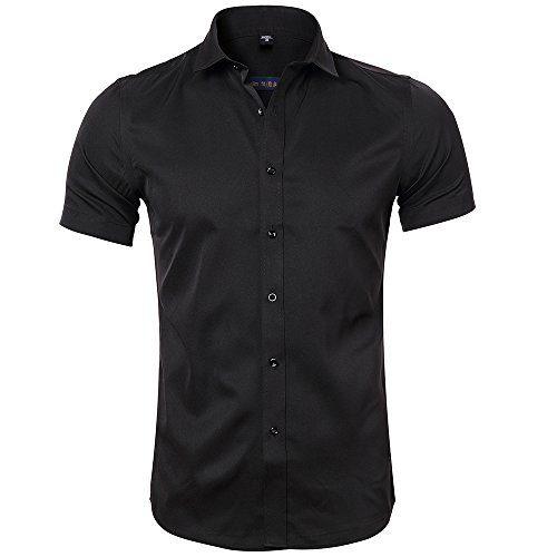 e9100bc9c INFLATION Men's Short Sleeve Shirt Slim Fit Stretch Bamboo Formal Dress  Shirt Casual Button Down Shirts for Work/Home, 9 Colors