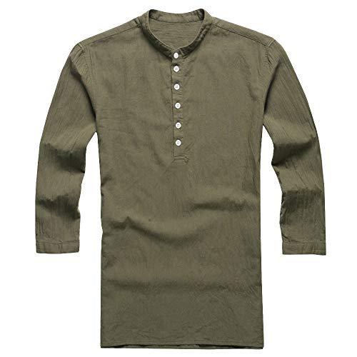 Men/'s T Shirt Casual Blouse Long Sleeve V Neck Tops Plain Cotton Linen Shirts