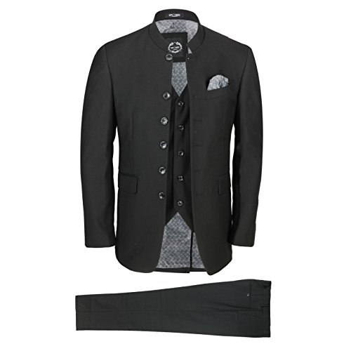 Mens Marc Darcy Grandad Collar Suit 2 Piece Wedding Blazer Jacket Trouser